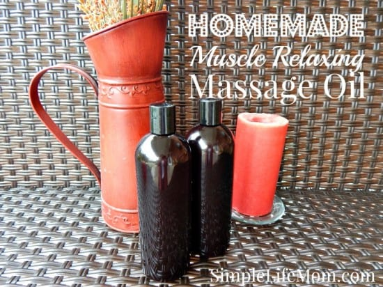 21 Handmade Christmas Gifts - Homemade Muscle Relaxing Massage Oil with essential oils. By Simple Life Mom