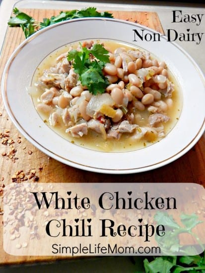 Easy Non Dairy White Chicken Chili Recipe from Simple Life Mom