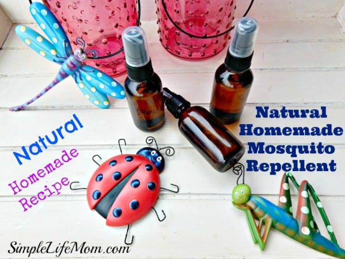 Natural Homemade Mosquito Repellent made with essential oils. All Natural and organic. Ok for spraying on skin. Great for use at BBQs, camping, or in your garden.