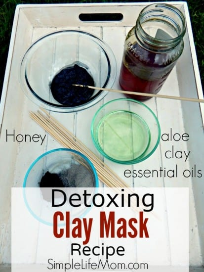 Detoxing Clay Mask Recipe with activated charcoal, bentonite clay, raw honey, aloe, and essential oils - from Simple Life Mom