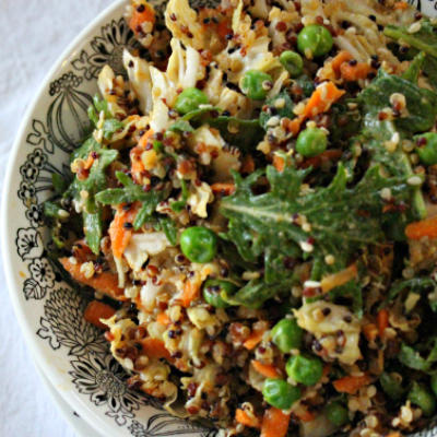 Featured on the Homestead Blog Hop -Green-Pea-Kale-Quinoa-Salad-with-Peanut-Dressing