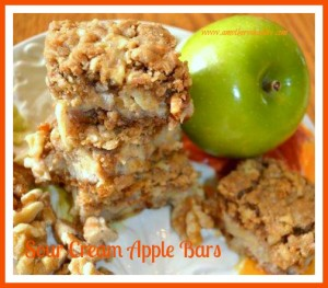 Featured on the Homestead Blog Hop -Sour-Cream-Apple-Bars