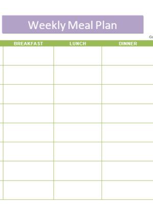 Weekly Meal Plan - Calendar