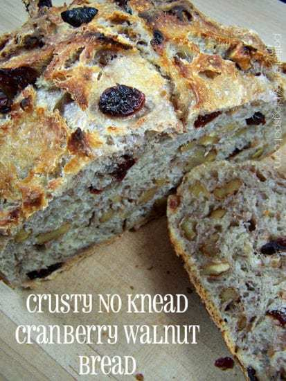 Homestead Blog Hop Feature - Crusty No Knead Cranberry Walnut Bread