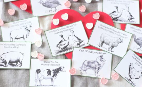 Homestead Blog Hop Feature - Cheesy Farm Valentines Free Printable