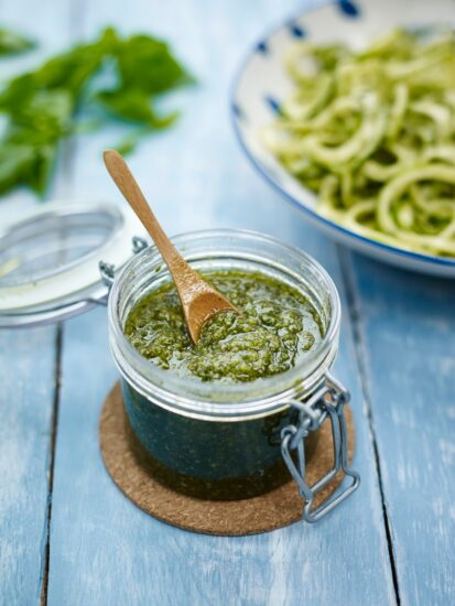 Homestead Blog Hop Feature - Super Green Pumpkin Pasta Pesto