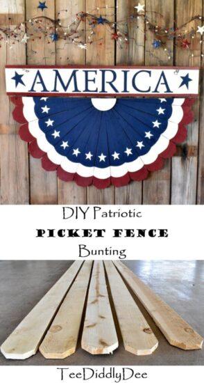 Homestead Blog Hop Feature - DIY Patriotic Picket Fence Bunting